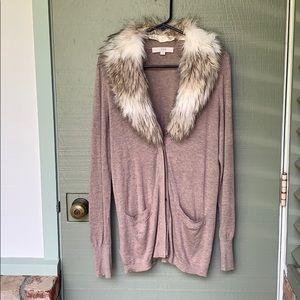 ANN TAYLOR- LOFT- size large brown cardigan